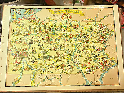 ANTIQUE 1935 PENNSYLVANIA MAP from OUR USA A GAY GEOGRAPHY PICTORIAL MAP