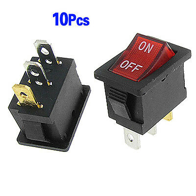 10 Pcs Red Lamp Neon Light SPST ON-OFF Rocker Switches AC 6A/250V 10A/125V