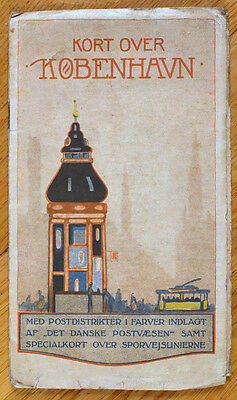 1930s Denmark Vintage Color Map of COPENHAGEN with index pages