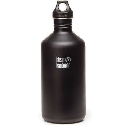 Klean Kanteen 64oz 1900ml Classic Drink Bottle with Loop Cap Shale Black