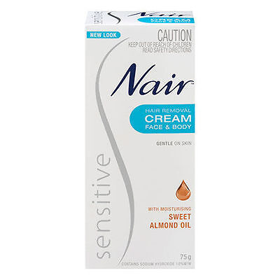 Nair Sensitive Hair Removal Cream Face & Body With Sweet Almond Oil 75G