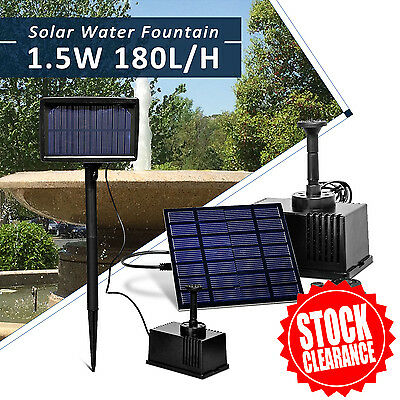 Solar Pump Pond Submersible Water Fountain 180L/H 1.5W 7V with Filtering Sponge