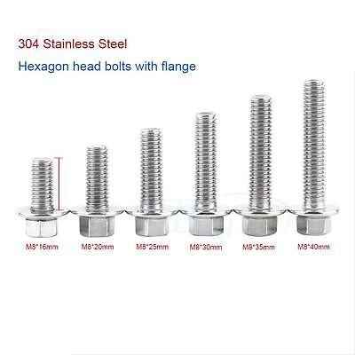 10pcs M6 M8 304 Stainless Steel Flange Hex Head Bolts Hexagon Screws Hot sale im