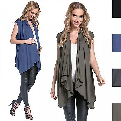 Happy Mama. Women's Maternity Waterfall Cardigan Gilet Blazer Sleeveless. 398p