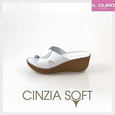 Cinzia Soft Pantofola Pelle Colore Bianco Zeppa H 6 Cm Made In Italy
