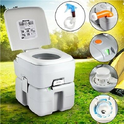 NEW Sturdy 20L Flushing System Water Tank Outdoor Camping Hunting Toilet - Grey