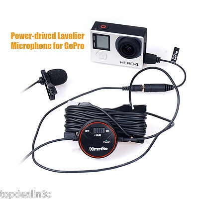 +10dB Adjusting Lavalier Microphone MIc with Wind Muff for GoPro HERO 4 3+ 3 2 1