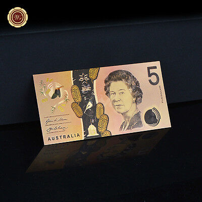 WR 2016 NEW Australia $5 Dollars Note COLOR Gold Foil Banknote Waterproof Gifts