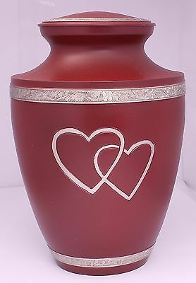 Adult Cremation Urn for Ashes, Large Funeral Memorial Red Urn, REDUCED SCRATCH