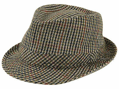 Hawkins Mens Tweed Country Trilby Hat Rolled Brim Headwear Classic Fedora  Cap 2218a8260a3