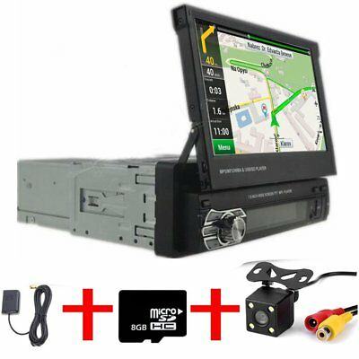 "7"" 1 Din Car Mp5 Player Radio Stereo Head Unit Gps Sat Nav Bt Usb + Map+ Camera"