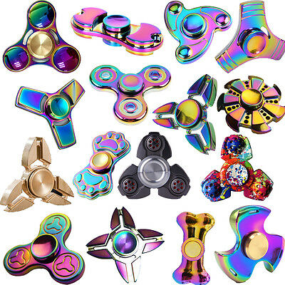 3D Rainbow Fidget Hand Spinner Finger EDC Focus Stress Reliever Toys Kids Adults