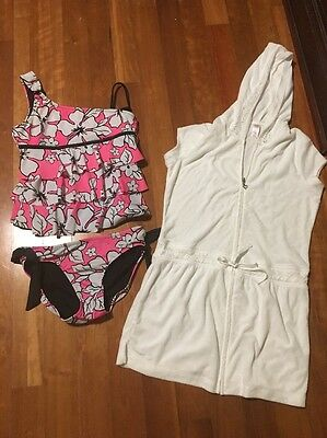Justice Girls Swim Bathing Suit 2 Piece Tankini Size 16 Plus White Cover Up