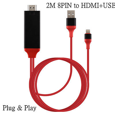 2M 8 Pin Lightning to HDMI HDTV AV Cable Adapter for iPad iPhone 5 6 6S 7 7 Plus
