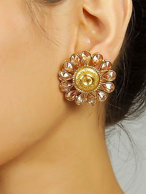7260 Indian Ethnic Bollywood CZ Gold Tone Jhumka Earring Set Traditional Jewelry