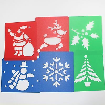 Plastic Christmas Theme Stencils Washable Festive Season Stencils Pack of 6