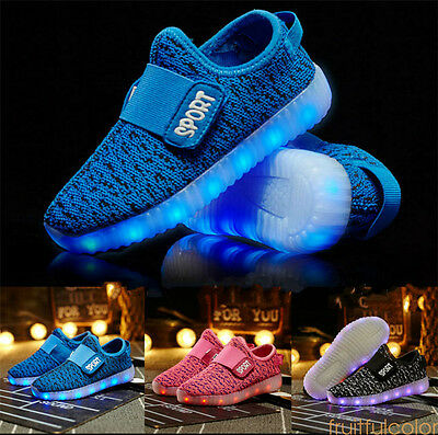 2017 Kids Boys Girls LED Light Up Sneakers USB Charger Shoes Trainers Luminous