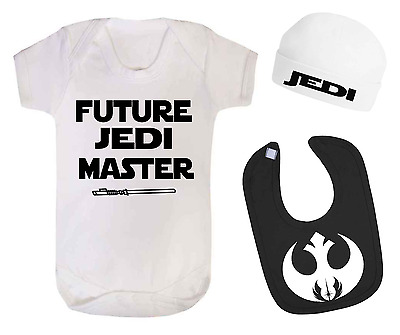 Future Jedi Master Star Wars Inspired Baby Vest Hat and Bib Set Baby gifts