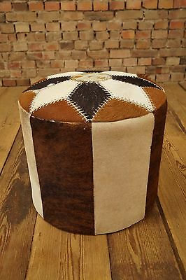 1960s Stool Cowhide Patchwork Ottoman Stool Vintage Design 60s 70s Stool