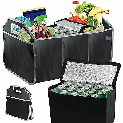 3 In 1 Car Boot Organiser Shopping Foldable Tidy & Cool Thermo Bag With Pockets