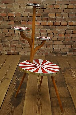 1950s Flower Stand 50s Flower Plant Stand Bamboo Rockabilly Side Table Table