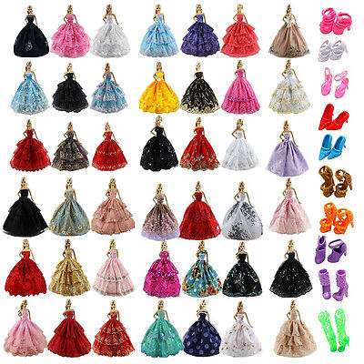Lots 6pcs Fashion Wedding Party Clothes Dress +10 Pairs Shoes for Barbie Doll US