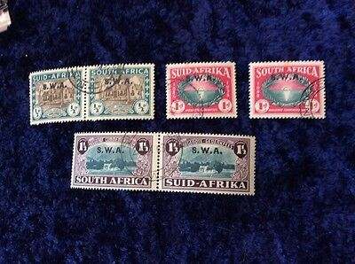 South West Africa Huguenot Commemoration 1688/1938 Very Fine Used Pairs SG 111/3