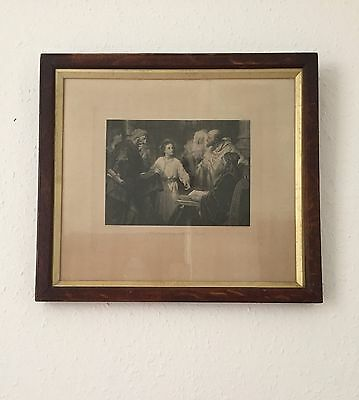 Antique Vintage Jesus Teaching in the Temple Print Framed
