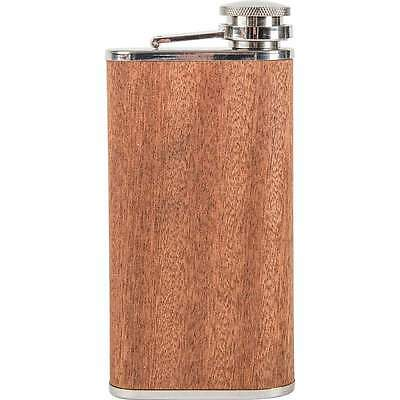 9oz Real SAPELE WOOD Wrap FLASK Screw Cap Top Hip Pocket Liquor Whiskey Alcohol