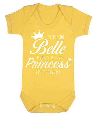 Step Aside Belle Baby Vest  Babygrow Baby Gift Disney Beauty and the Beast