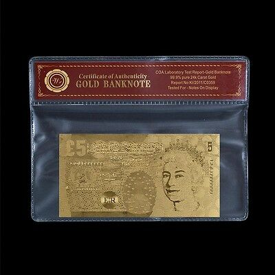 WR Bank of England £5 Five Pounds Banknote Gold Foil Bill Note /w Free COA Gifts