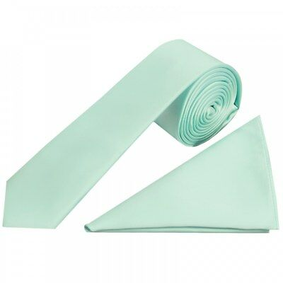 Mint Green Satin Skinny Boys Tie and Pocket Square Set kids Wedding Tie Children