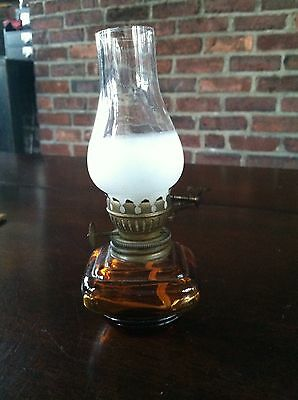 Antique Miniature Amber Glass Square Base Kerosene Oil Lamp Frosted Chimney