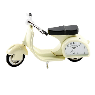 Miniature Collectors Clock Desktop Novelty Vespa Moped Ideal Gift Boxed