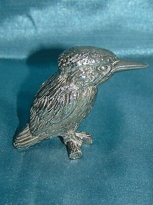 Stunning White Metal Sculpture - Miniature - Kingfisher - Amazing Fine Detail