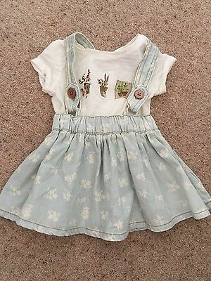 Beautiful Baby Girls Next Dungaree Dress Outfit 3-6 Months ❤