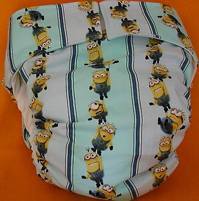 All In One Adult Baby Reusable Cloth Diaper S,M,L,XL Minions Stripes