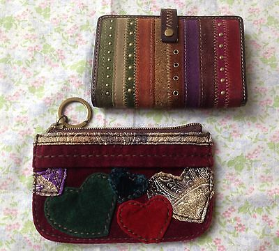 Lot of 2 Lucky Brand Coin Purse and Fossil Wallet