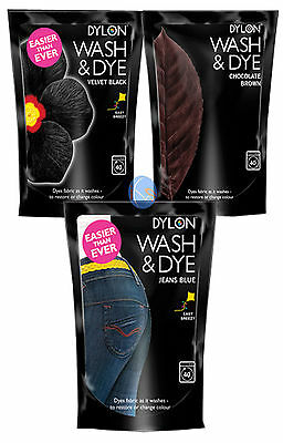 Dylon Wash & Dye Velvet Black, Jeans Blue or Chocolate, 1, 2, 4, 12, 24,96 & 240