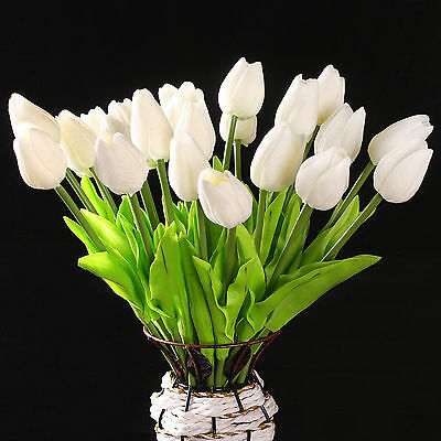 10 pcs White Tulip Flower Latex Real Touch For Wedding Bouquet KC456