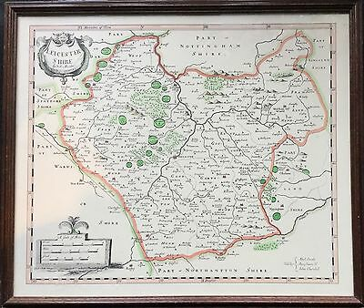 Vintage Leicestershire County Map By Robert Morden In Glazed Framed