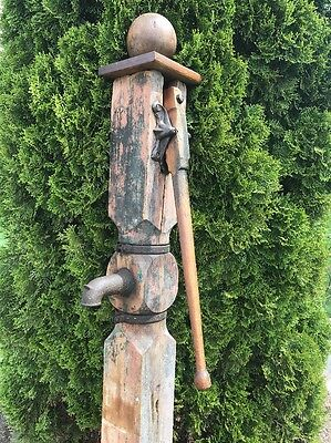 Antique Water Pump Wooden Well Hand Pump Cast Iron Hardware Hitching Post 1800's