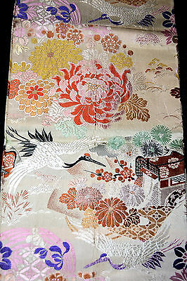Vintage Japanese Kimono OBI with Cranes and Flowers Formal Quality