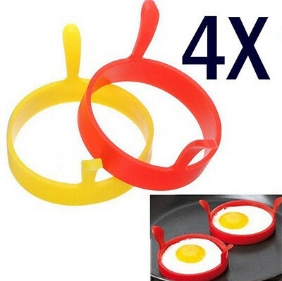 4 PCS Silicone Round Egg Rings Pancake Mold Ring Handles Nonstick Fried Frying