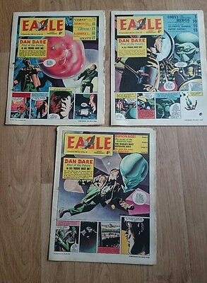 3 Eagle comics 1964 Vol. 15 Issue no's 38,39,40. Preloved used Dan Dare.