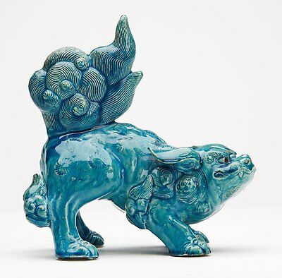 Antique Chinese Turquoise Pottery Foo Dog Figure 19Th C.