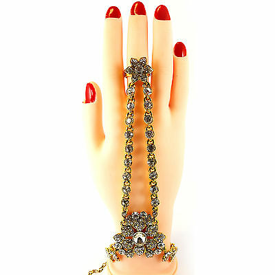 Hand Panja Hand Chain Bracelet Stone Panja - Left/Right Hand - Gold & Silver