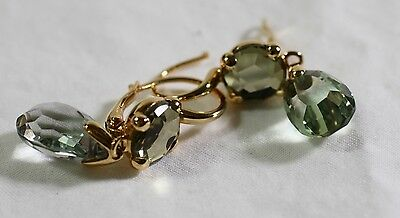 Pomellato 18k Yellow Gold & Green Prasiolite Drop Earrings