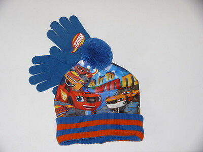 Boys Blaze And The Monster Machines Bobble Hat And Glove Set Winter Warm