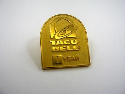 Vintage Collectible Pin: Taco Bell 1 Year Gold Tone Nice Quality
